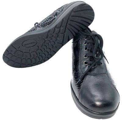 δέρμα sneaker δετό  μαύρο  CINZIA SOFT