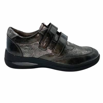 δερμάτινο sneaker με Velcro ανθρακί STONEFLY