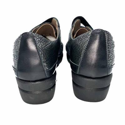 μοκασίνι δέρμα μαύρο γκρι με Velcro Flex go