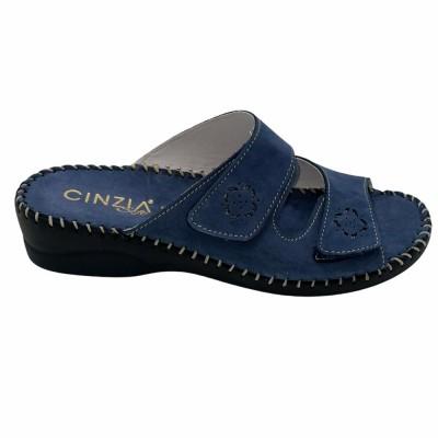 Παντόφλα δέρμα καστόρι μπλε/τζιν με Velcro CINZIA SOFT