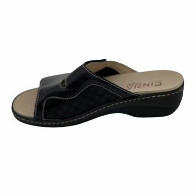 Παντόφλα δέρμα μαύρο με Velcro και αποσπώμενο πέλμα CINZIA SOFT