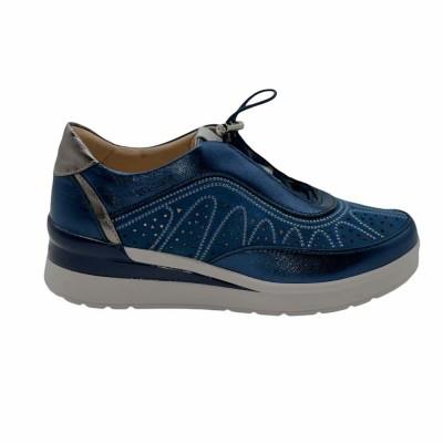 sneaker δέρμα καστόρι μπλε  με λάστιχο κορδόνι και αποσπώμενο πέλμα STONEFLY