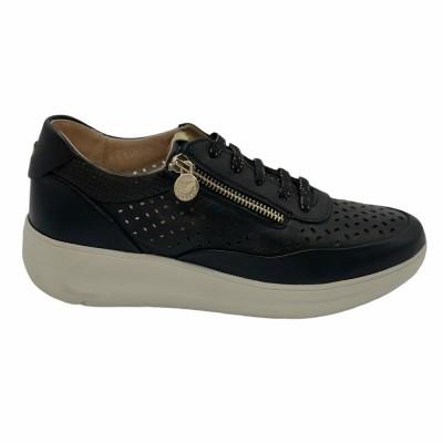 sneaker δέρμα μαύρο με φερμουάρ &  αποσπώμενο πέλμα STONEFLY