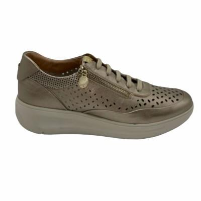 sneaker δέρμα μπεζ μεταλλικό  με φερμουάρ &  αποσπώμενο πέλμα STONEFLY