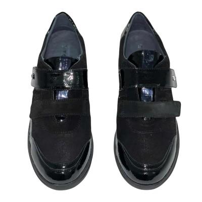 Sneaker δερμάτινο μαύρο με Velcro STONEFLY