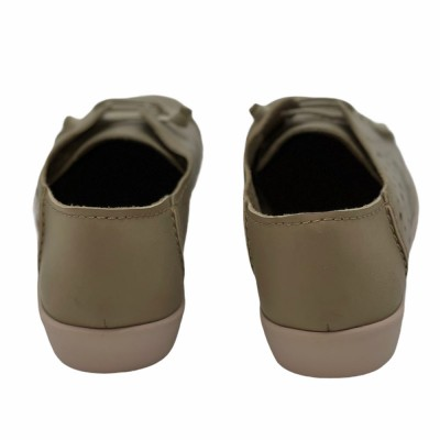 Sneaker δερμάτινo  μπεζ  με τρύπες  και λάστιχο Flex & Go